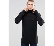 Langer Rollkragenpullover aus schwarzer Baumwolle Schwarz