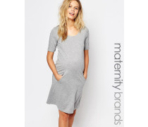 Mamalicious Kurzärmliges Jersey-Kleid Grau