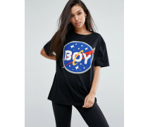 T-Shirt mit Space-Logo Schwarz
