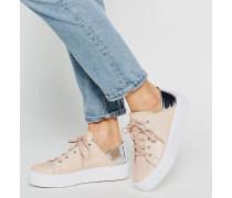 DOWNTOWN Geschnürte Sneaker mit flacher Plateausohle Beige