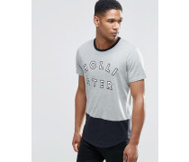 Schmales Muskel-T-Shirt mit Retro-Logo & Ringerrücken in Grau Grau