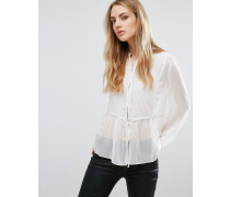 Transparente Bluse Cremeweiß