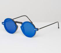 Runde Sonnenbrille mit blauen Gläsenr Schwarz