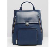 Großer Rucksack aus Leder Marineblau