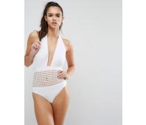 Neckholder-Badeanzug mit rechteckigem Zierausschnitt Weiß
