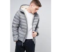 Gesteppte Daunen-Jacke mit Kapuze in Anthrazitgrau Grau