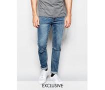 Enge Skinny-Jeans in Dark Clean mit Zierrissen am Knie Blau