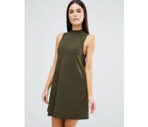 Hochgeschlossenes Swing-Kleid Grün