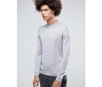 Jaylen Langärmliges Strickpoloshirt aus Merinowolle Grau