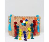 Kuvert-Umhängetasche mit Puscheln und Quasten Mehrfarbig