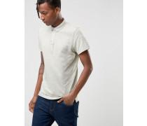 Überfärbtes Polohemd aus Jersey in schmaler Passform Cremeweiß