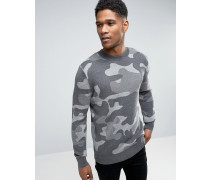 Grauer Pullover in Camouflage Grau