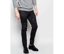 Enge, schwarze Hose aus Wildlederimitat mit Reißverschlusstaschen Schwarz