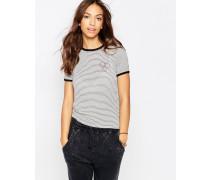 Figurbetontes Retro-T-Shirt mit Streifen und kleinem Logo Mehrfarbig