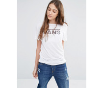 Classic T-Shirt in Weiß mit Logo im Boyfriend-Schnitt Weiß