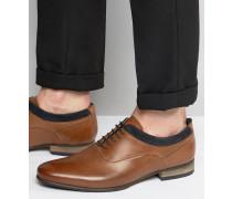 Oxford-Schuhe aus hellbraunem Leder mit Wildlederdetail in Marine Bronze