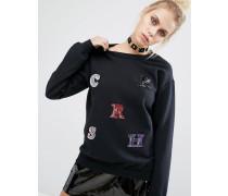 Sweatshirt mit Buchstaben aus Pailletten Schwarz