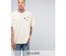Überfärbtes Oversize-T-Shirt mit Distressed-Optik Steingrau