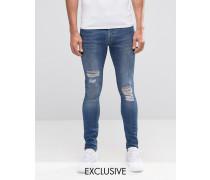 Brooklyn Supply Co Gerippte Dyker-Jeans in Stonewash, superenge Passform Blau