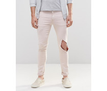 Superenge Jeans mit Zierrissen in Hellrosa Rosa