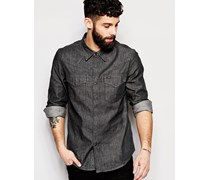Slim-Fit-Jeanshemd in Grau Grau