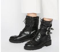 Grobe, flache Ankle-Boots mit Schnürung und Riemendetails Schwarz