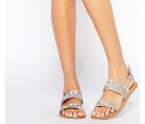 FI Verzierte, flache Sandalen aus Leder Beige
