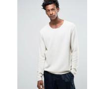 Texturierter Pullover Weiß