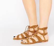 Flache Sandalen aus echtem Leder zum Binden Bronze