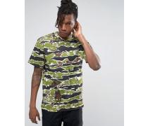 T-Shirt mit durchgehendem Camouflage-Muster Grün