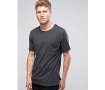 Legeres T-Shirt mit Tasche Schwarz
