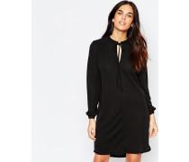 Langärmeliges Kleid mit geschnürtem Ausschnitt Schwarz