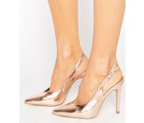 Slingback-Schuhe in Metallic mit Absatz Gold