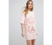 Minikleid aus Baumwolle mit Knoten auf der Vorderseite Rosa