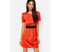 2-in-1-Kleid mit Gürtelband Orange