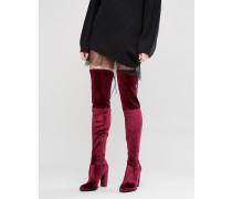 KINGDOM Samt-Overknee-Stiefel mit Absatz Rot