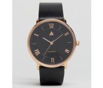 Uhr mit Lederarmband und roségoldfarbenen Akzenten Schwarz