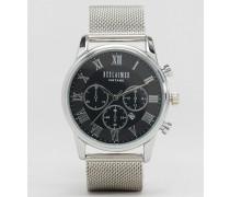 Chronographenuhr mit silbernem Netzarmband Silber