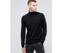 Pullover aus Kaschmirwollmischung mit Rollkragen Schwarz