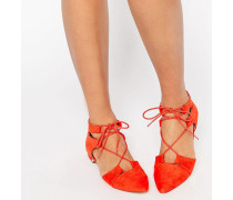 LET'S PLAY Spitze, geschnürte Ballerinas Rot