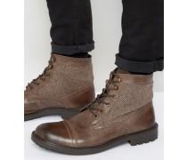 Stiefel im Military-Stil mit Tweed-Akzenten Braun
