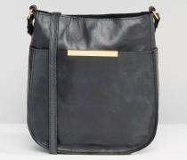 Umhängetasche aus Leder im Vintage-Look Schwarz