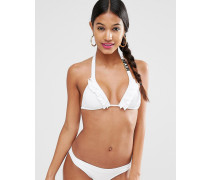 Gerüsches Bikinioberteil in Triangelform mit Logo Weiß