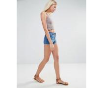 Jeansshorts mit Zickzackdesign Blau