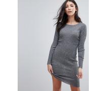 Figurbetontes Kleid aus Rippstrick Grau