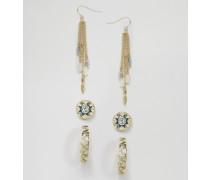 Party-Ohrringe mit Azteken- und Facettenmotiv Gold
