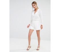 Shorts mit Spitzenbesatz Weiß