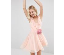 Minikleid mit abnehmbarer Korsage und gerüschtem V-Ausschnitt vorn Rosa