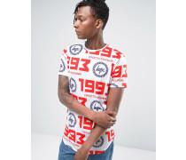 T-Shirt mit russischem Logo und 'Repeat'-Print Weiß