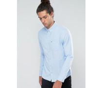 Schmales Oxford-Hemd in Samoset-Blau mit Knopfleiste und Möwenlogo Orange